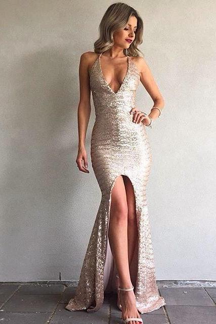 Mermaid Backless Sexy Formal Ball Dresses V-Neck Front Split Sequined Evening Gown
