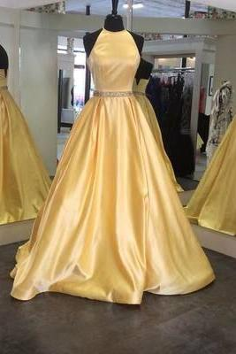 Charming Prom Dress,Satin Prom Dress,Halter Prom Dress,A-Line Evening Dress