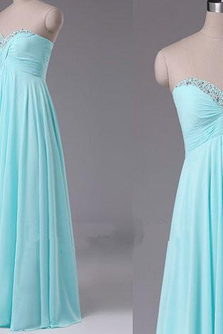 Pretty Simple Sweetheart Beadings Long Bridesmaid Dresses, Mint Prom Dresses, Simple Prom Dresses, Evening Dresses