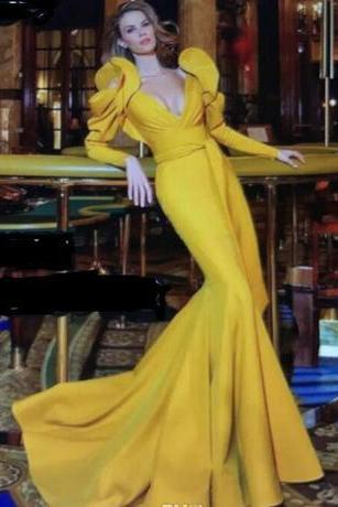 2018 Yellow Mermaid Prom Dresses with Ruffled Puffy Long Sleeves and Plunging V Neck Sweep Train Evening Gowns