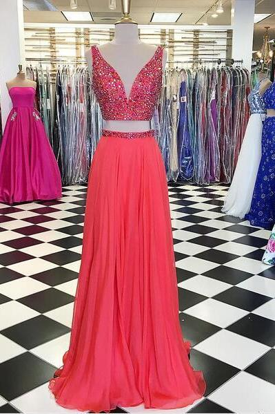 2018 Two Pieces A Line Chiffon Prom Dresses Crew Neck Beading Crystals Evening Dress Formal Gowns Vestidos