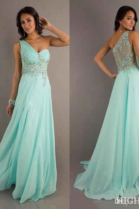 Ner Arrival One Shoulder A-Line Chiffon Designer Dresses Crystal Beaded Prom Lace Dresses Evening Gowns