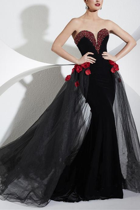 Prom Dresses, Unique prom Gowns with removable Skirt, Sexy Evening Dress, Special Dress