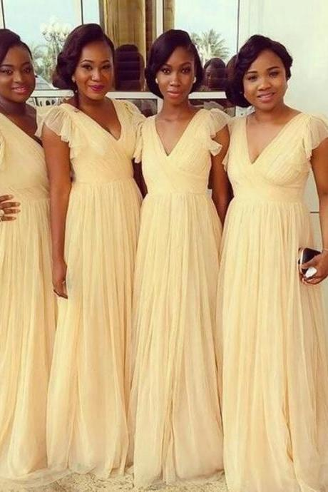 Bridesmaid Dresses,Bridesmaid Dresses For Wedding,,A Line Capped Bridesmaid Dress, Maid Of Honor Gowns