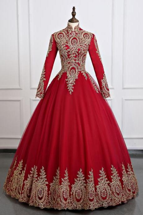 Red Muslim wedding Dresses,Real Picture Long sleeve Wedding Ball Gown High Neck Indian Sudan Bridal Dresses Middle East Wedding Dresses