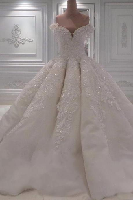 Custom Made White Off-Shoulder Beaded Princess Ball Gown, Wedding Dress