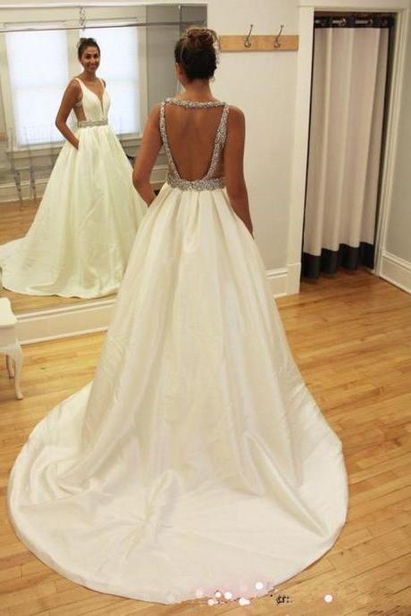 Sexy Deep V Neckline Wedding Dresses, Long Custom Wedding Gowns, Cheap Wedding dress, Best Bridal Gowns, Lace Wedding Dresses
