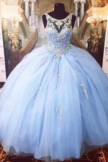 Blue Quinceanera Dresses Vestidos de 15 anos Aqua Stunning Ball Gowns Spaghetti Straps Beaded Sweetheart Sweet 16 Dress for party dress