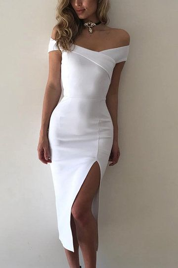 white prom dress, homecoming dresses, with splik, off shoulder, meimaid, charming prom dresses