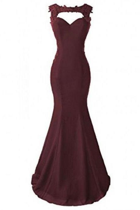 Burgundy, Applique, Long, Mermaid Prom Dresses, Evening Dresses
