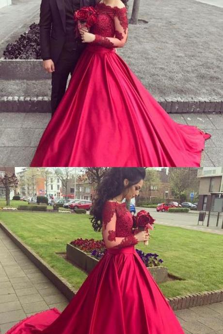 Red Off The Shoulder Long Sleeve Ball Gown Prom Dress,Wedding Dress With Lace Appliques Bodice