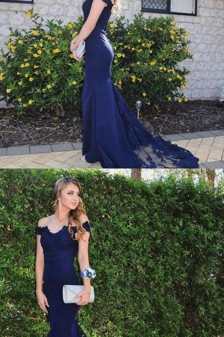 2018 Navy Blue Off The Shoulder Mermaid Formal Gown, Sweep Train Prom Dress With Lace Bodice