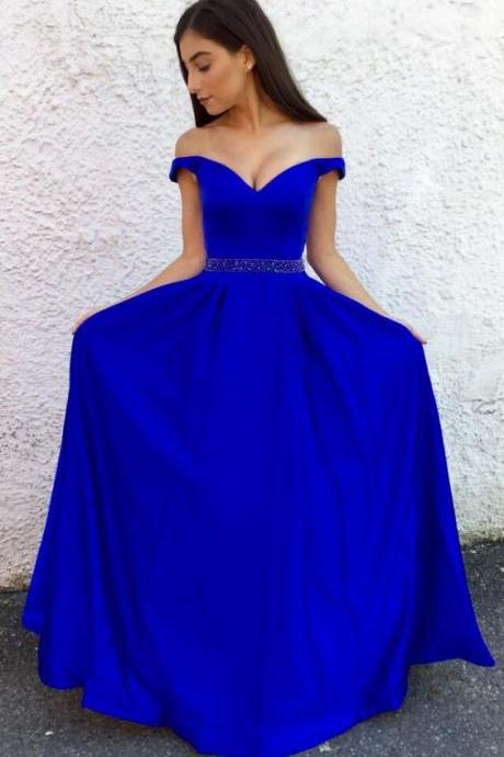 Royal Blue Off The Shoulder A Line Formal Evening Gown, Prom Dress With Beaded Waist
