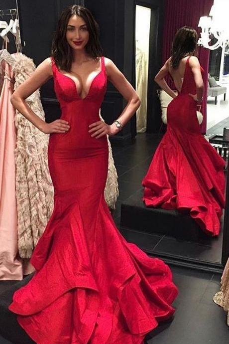 New Arrival Red Sexy V Neck Mermaid Prom Dress,Open Back Formal Gown With Layered Skirt