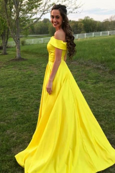 Yellow Off The Shoulder A Line Princess Prom Dress,Evening Gown With Pockets