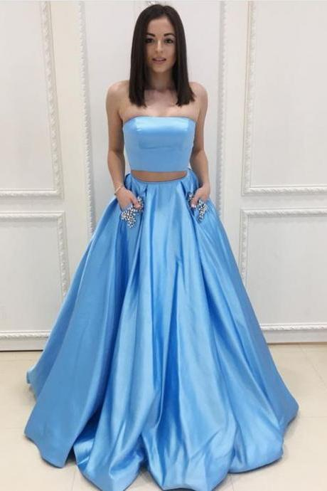 Light Blue Strapless Two Piece A Line Prom Dress, Formal Evening Gown With Two Pockets